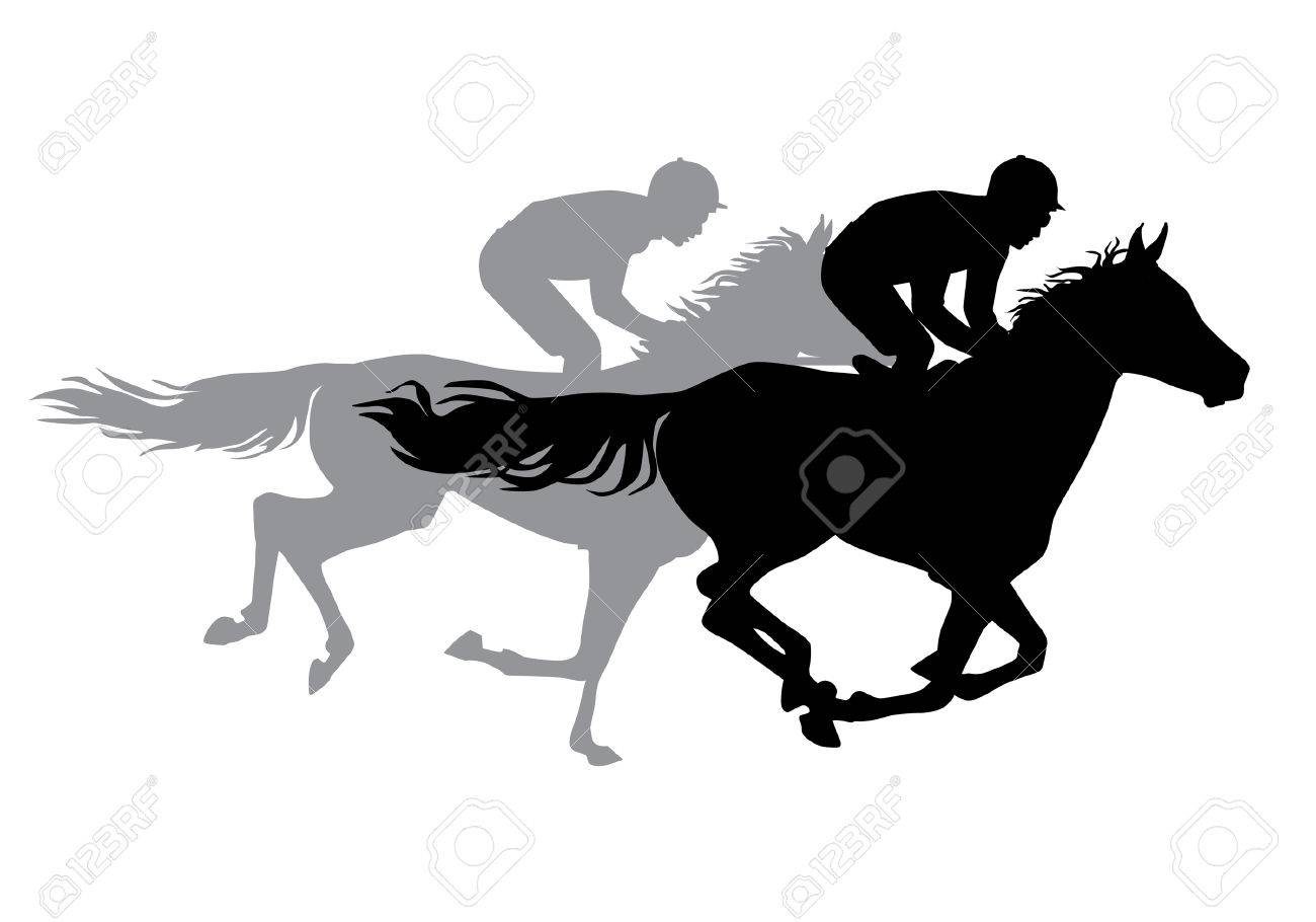Two Jockeys Riding Horses Horse Races Competition Silhouettes On A White Background