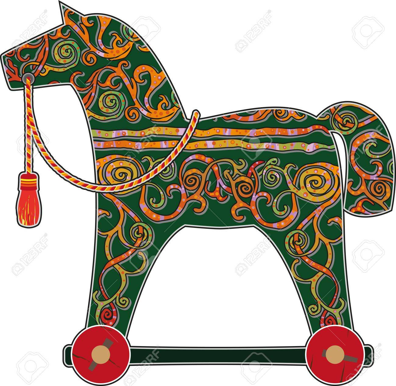 Children S Hand Painted Rocking Horse On Wheels Royalty Free Cliparts Vectors And Stock Illustration Image 21701262