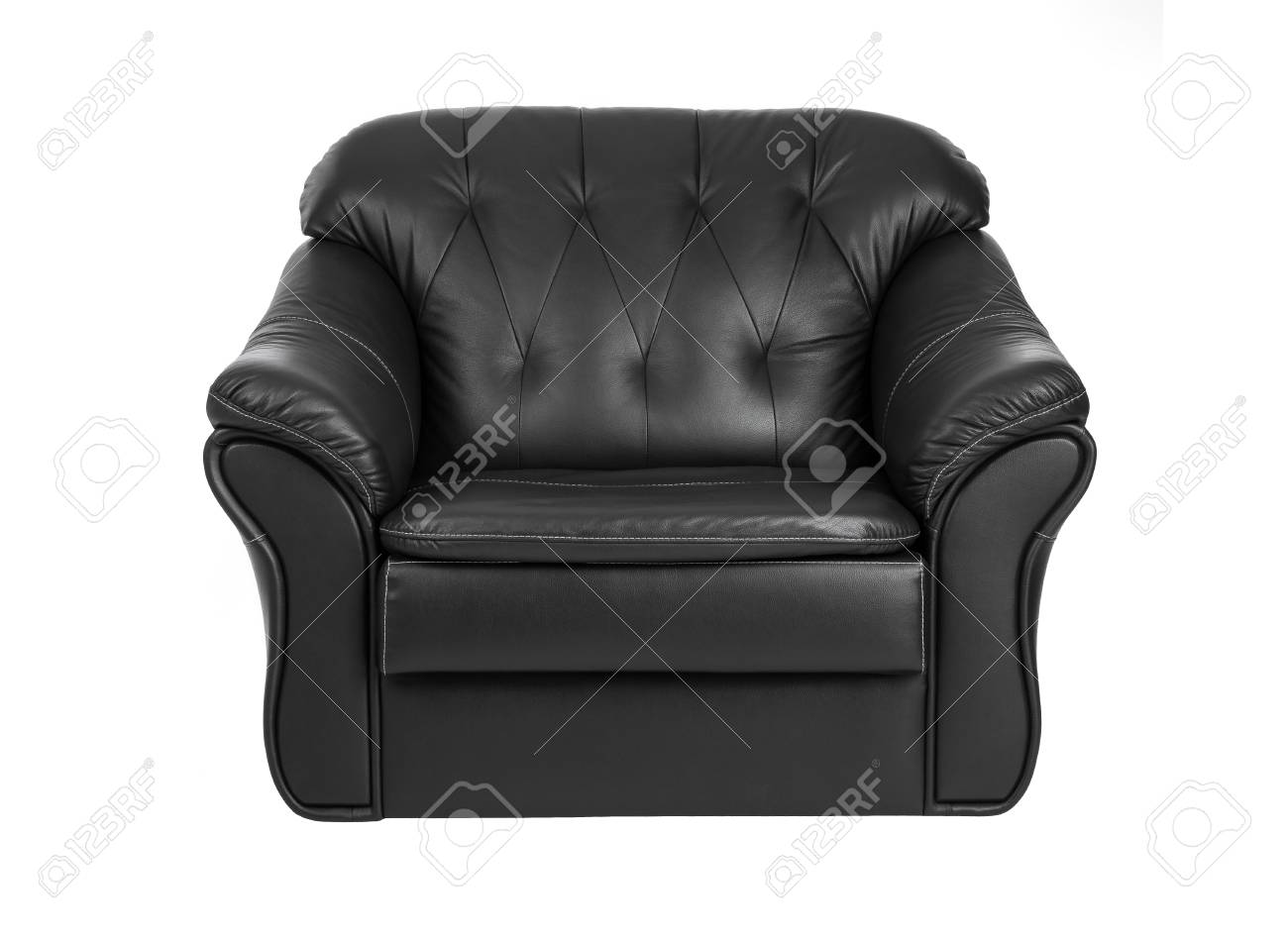 photo classic big black leather armchair isolated on white background