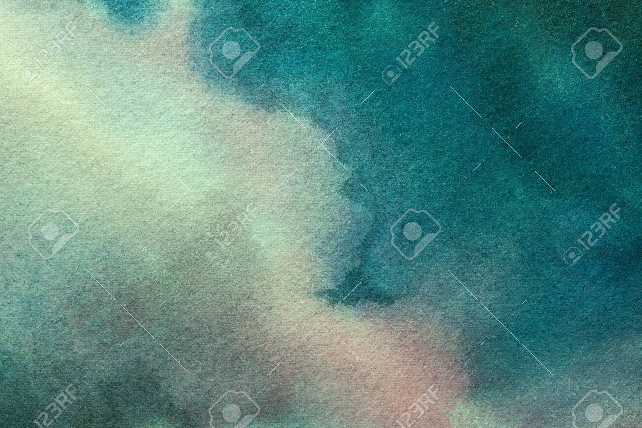 Abstract art background light blue and turquoise colors. Watercolor painting on canvas with soft cyan gradient. Fragment of artwork on paper with wavy aquamarine pattern. Texture backdrop. - 152871247