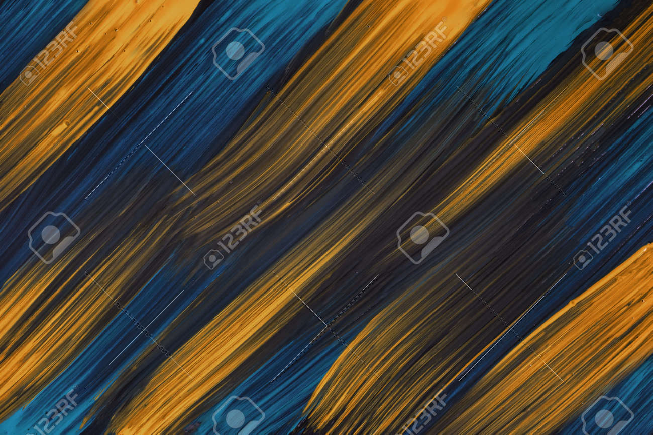 Abstract art background navy blue and dark golden colors. Watercolor painting on canvas with yellow strokes and splash. Acrylic artwork on paper with spotted pattern. Texture backdrop. - 169067240
