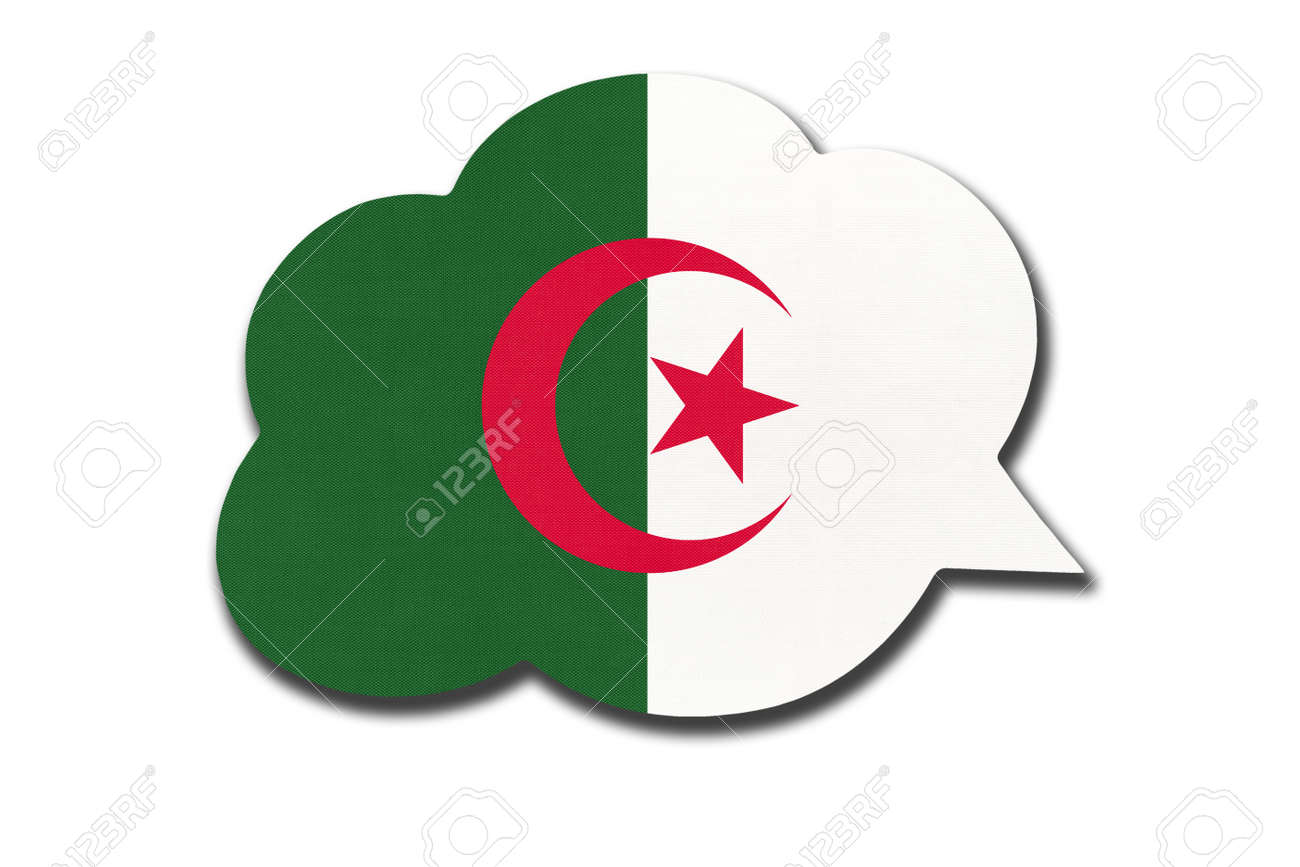 3d speech bubble with Algerian national flag isolated on white background. Speak and learn language. Symbol of Algeria country. World communication sign. - 169067241