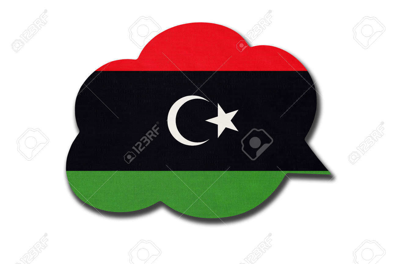 3d speech bubble with State of Libya national flag isolated on white background. Speak and learn language. Symbol of Libyan country. World communication sign. - 169067246