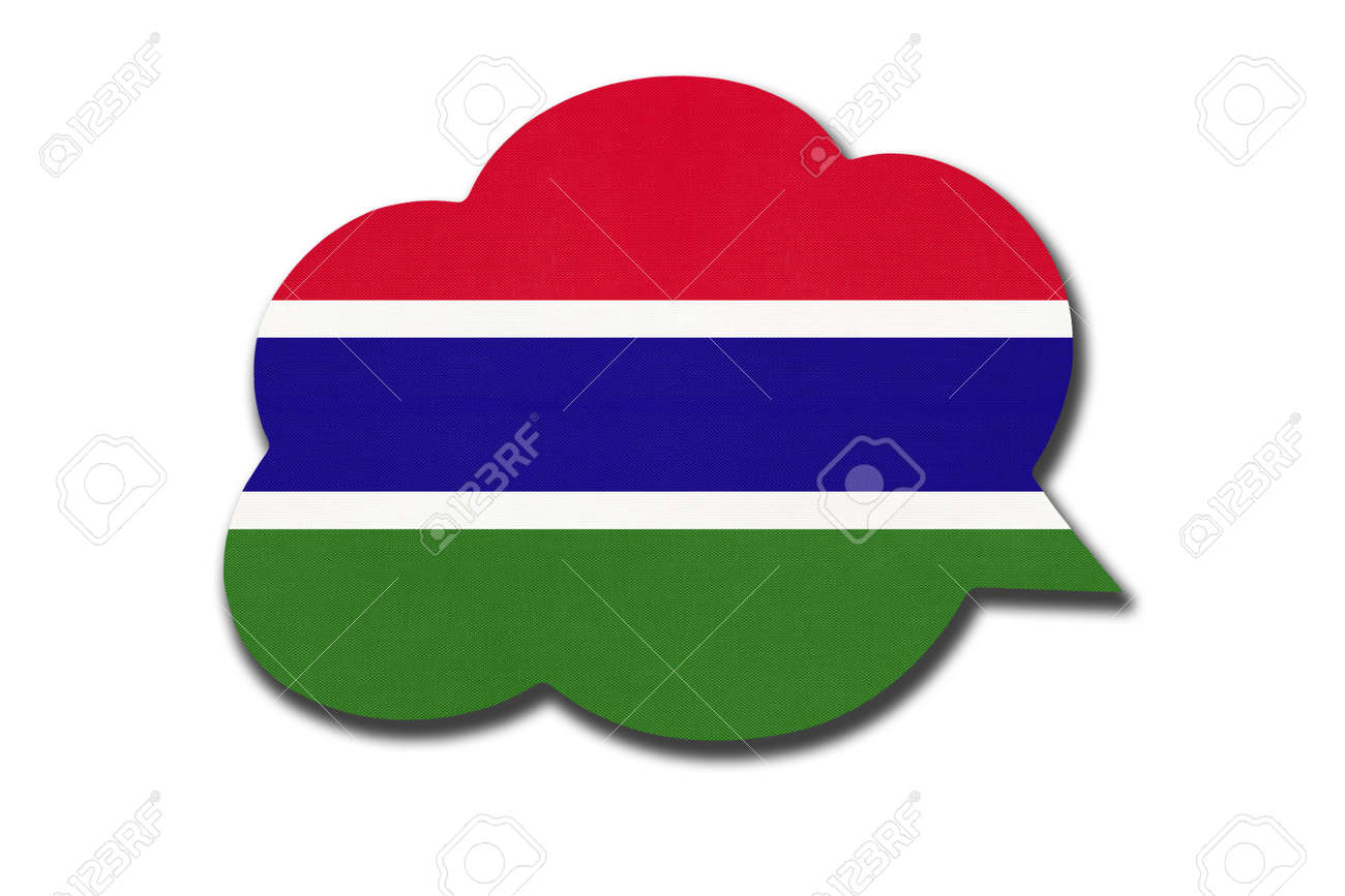 3d speech bubble with Gambian national flag isolated on white background. Speak and learn language. Symbol of The Gambia country. World communication sign. - 169067250