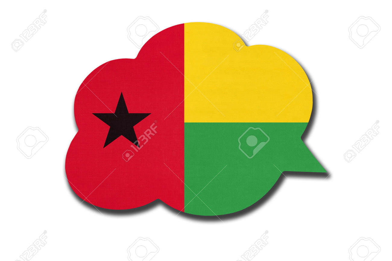 3d speech bubble with Guinea-Bissau national flag isolated on white - 169499019