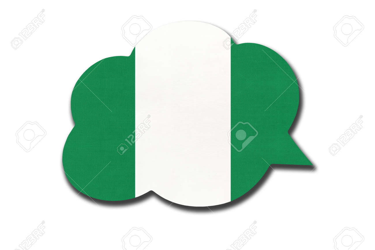 3d speech bubble with Nigerian national flag isolated on white - 169499025