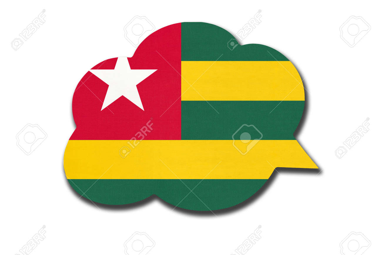 3d speech bubble with Togolese Republic national flag isolated on white - 169499160