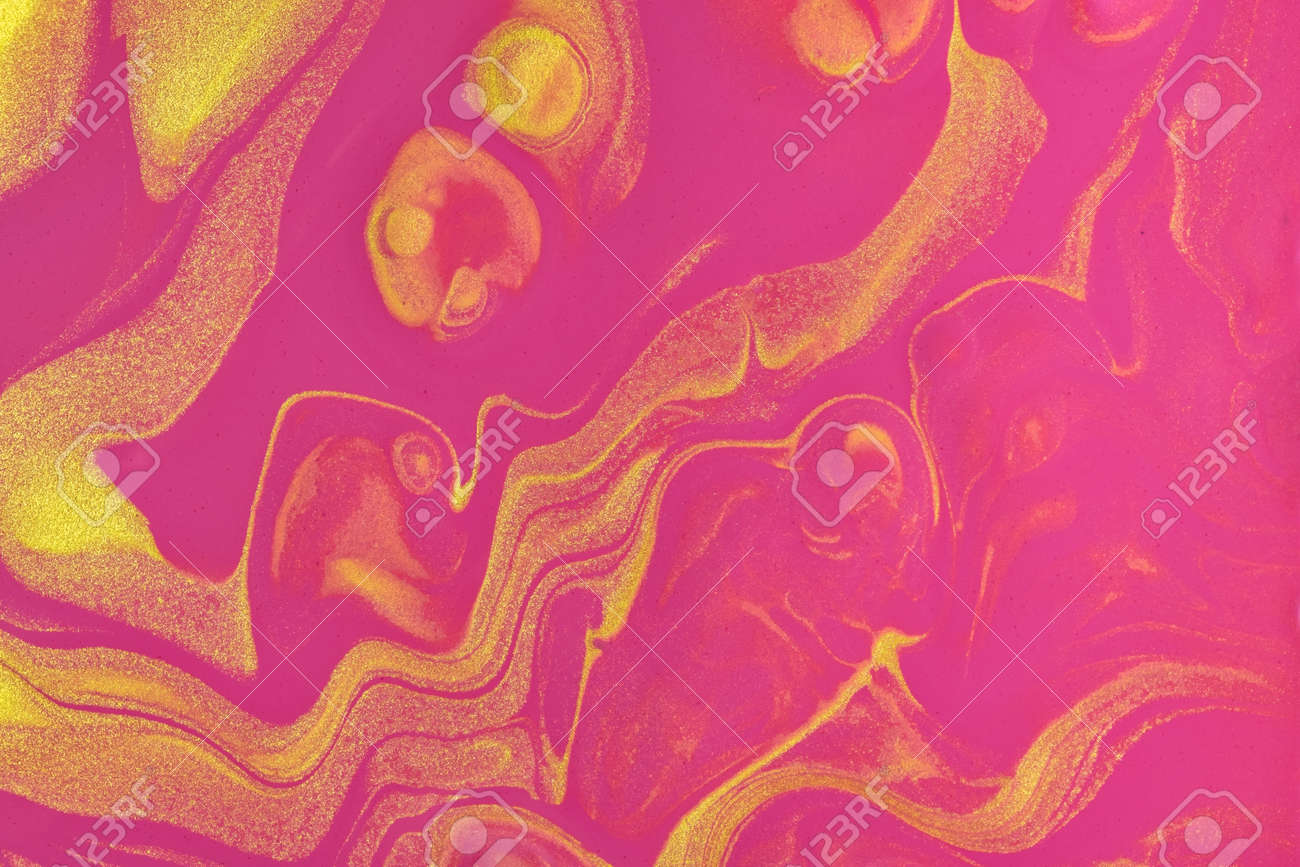 Abstract fluid art pattern bright purple and golden colors. Liquid marble. - 169499255