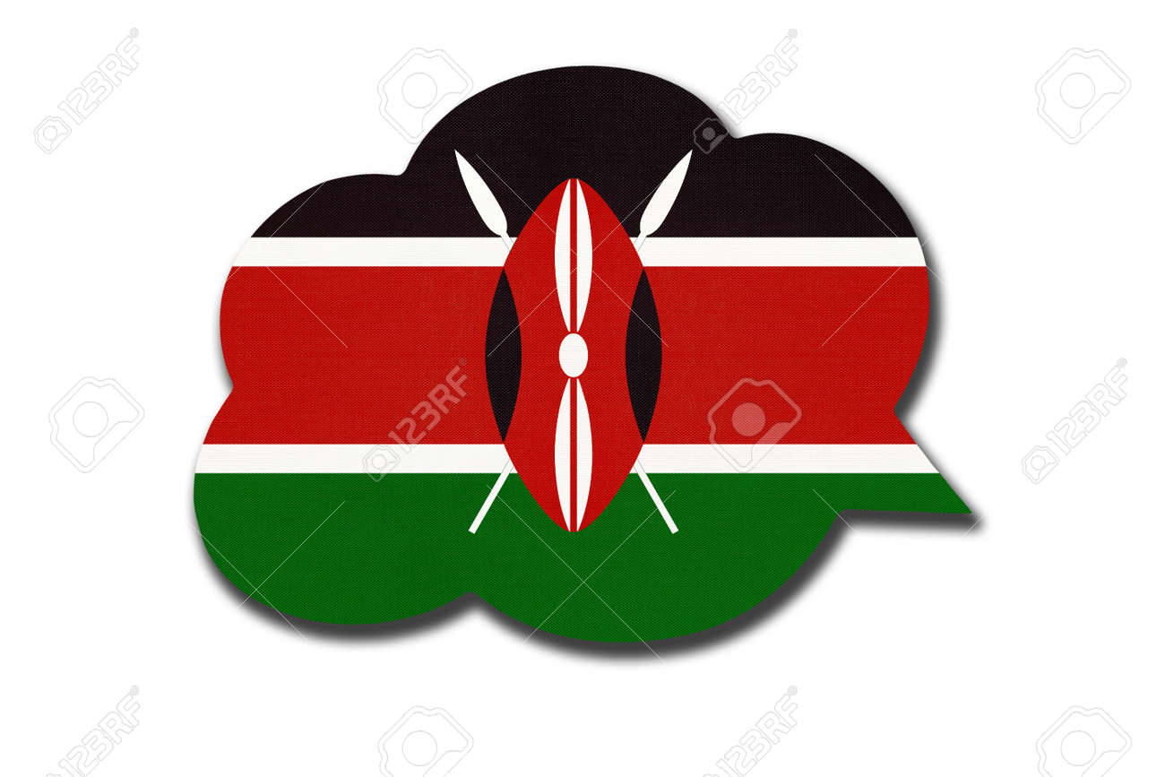 3d speech bubble with Kenyan national flag isolated on white - 169499258