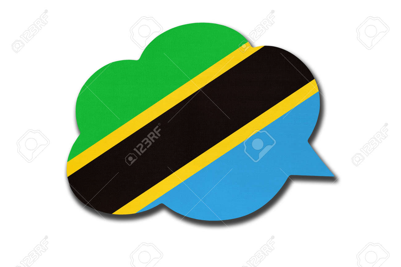 3d speech bubble with Tanzanian national flag isolated on white - 169499263