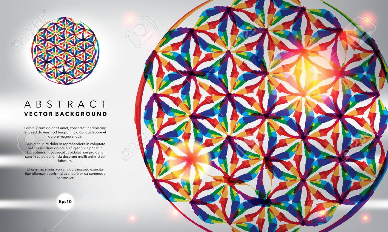 Abstract background. Flower of life. Glossy and colorful on the white panel. Use for template, brochure design. Banque d'images - 62358674