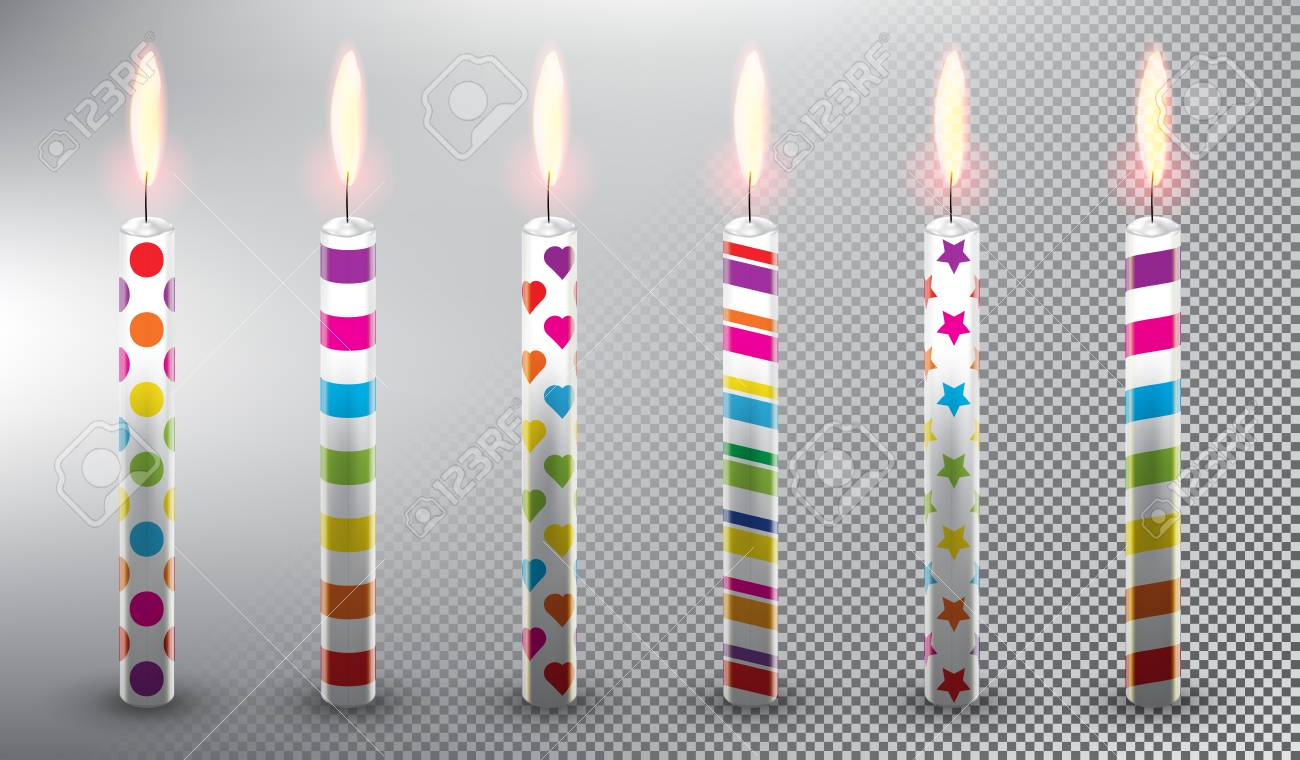 Collection Of 6 Vector Candles Birthday Cake Realistic And Isolated With Transparent Burning
