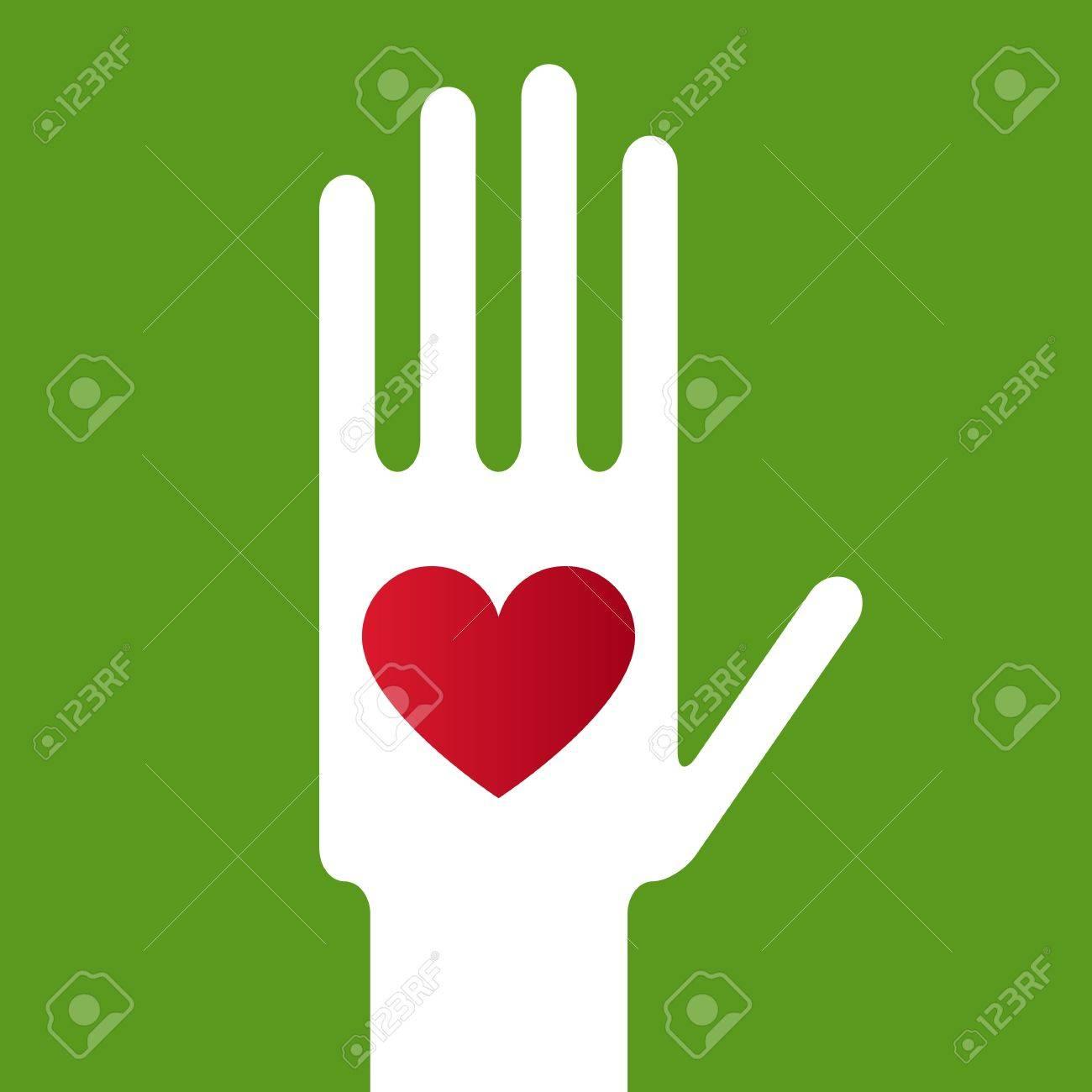 Hand whit heart Stock Vector - 11809336