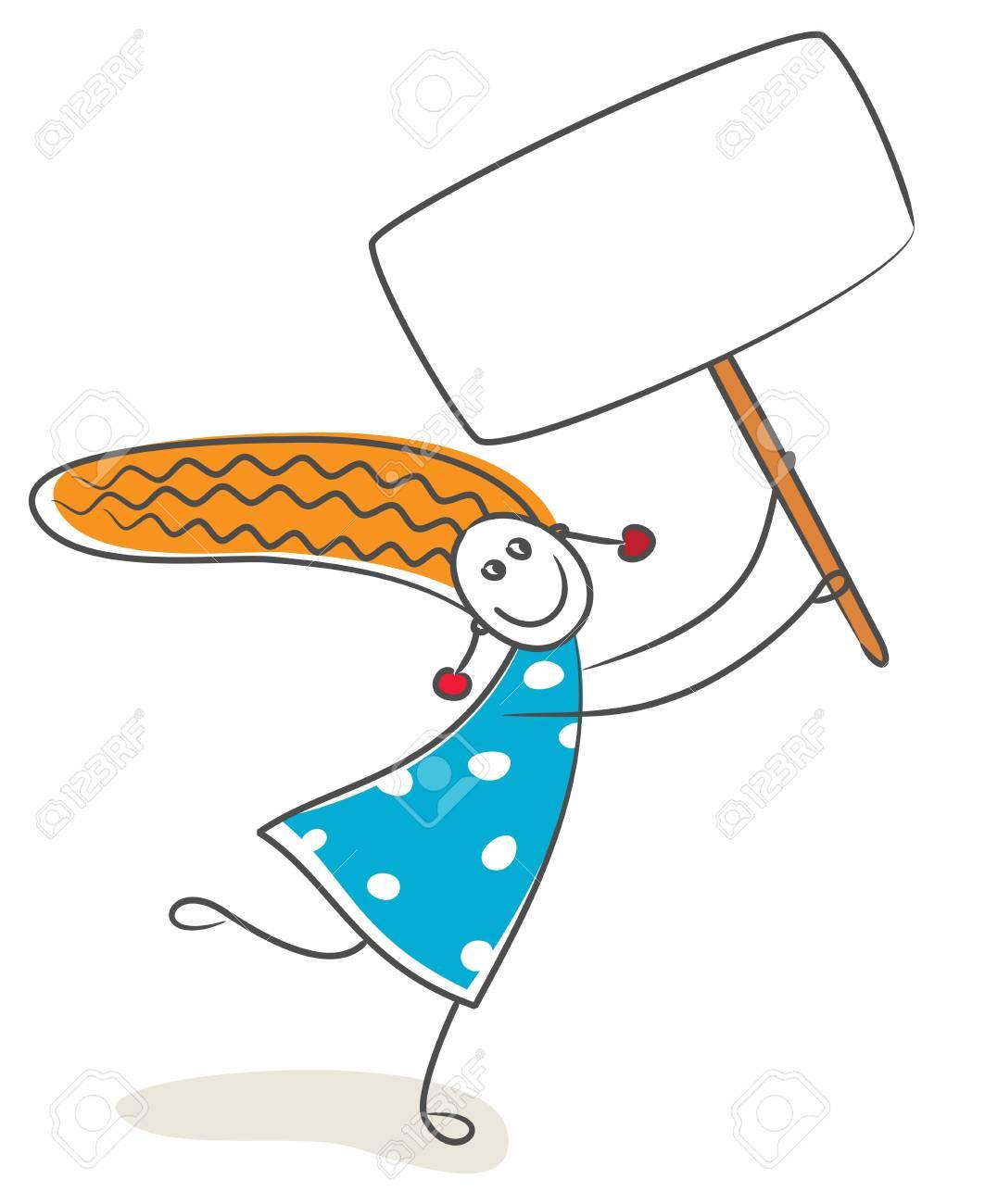 Happy little girl with billboard Stock Vector - 12208522