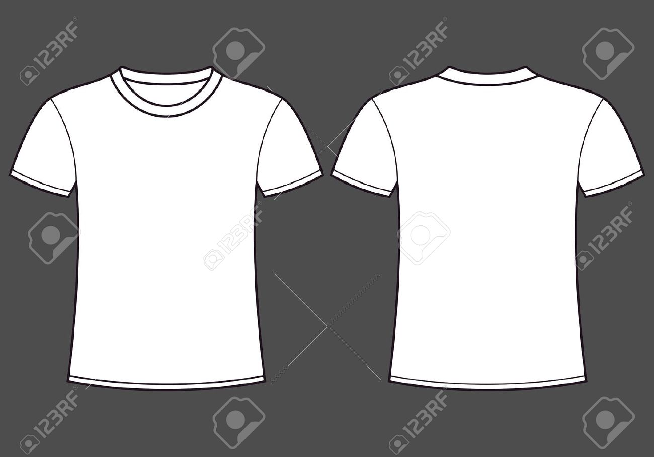 Blank black t shirt front and back - Blank T Shirt Template Front And Back Stock Vector 14087043