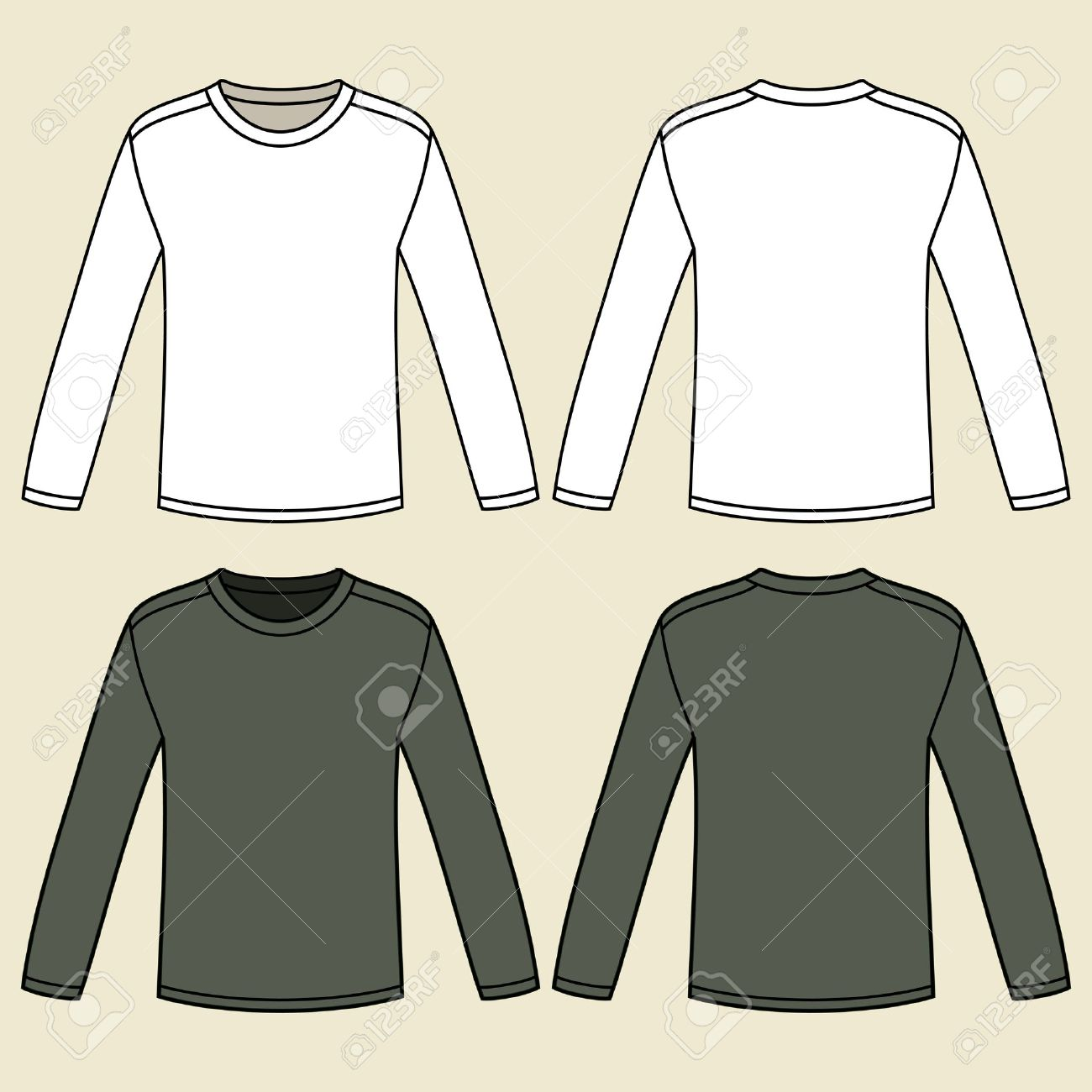 Blank Long-sleeved T-shirts Template Royalty Free Cliparts, Vectors ...