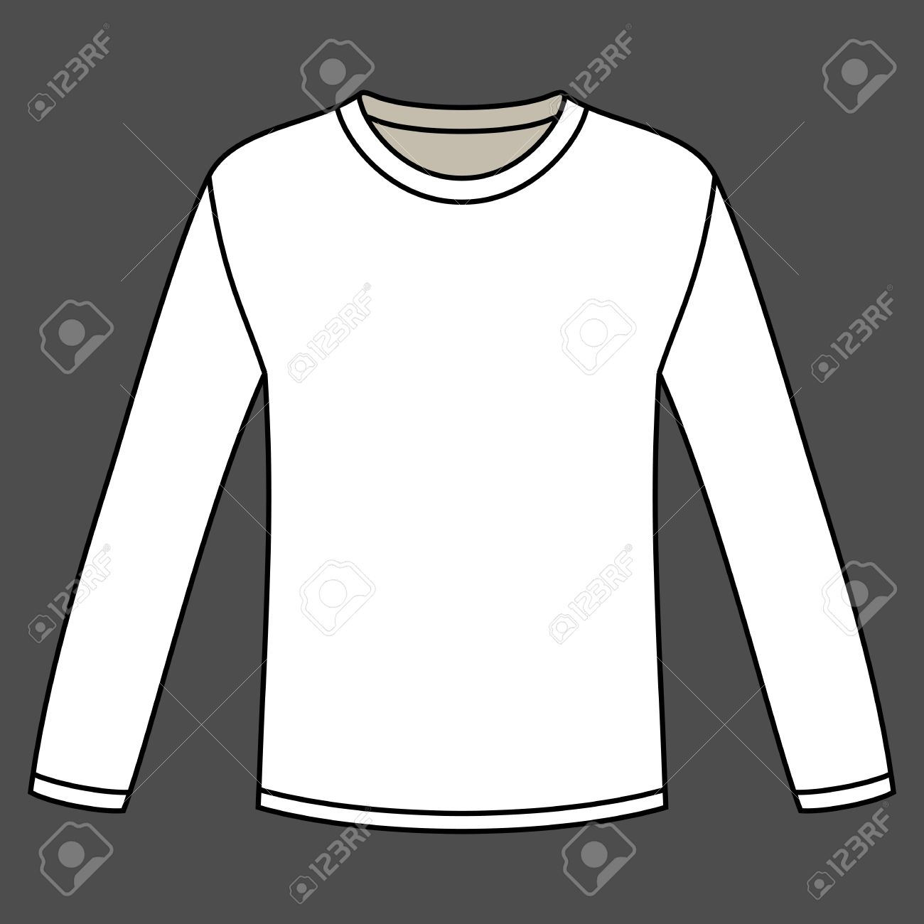 3a75a83d04c7 Blank Long-sleeved T-shirt Template Royalty Free Cliparts, Vectors ...