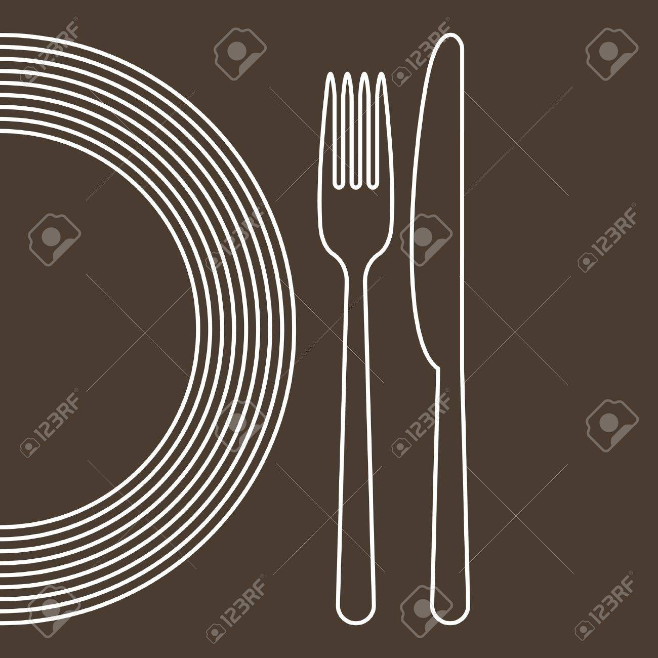Plate, knife and fork - 14467837