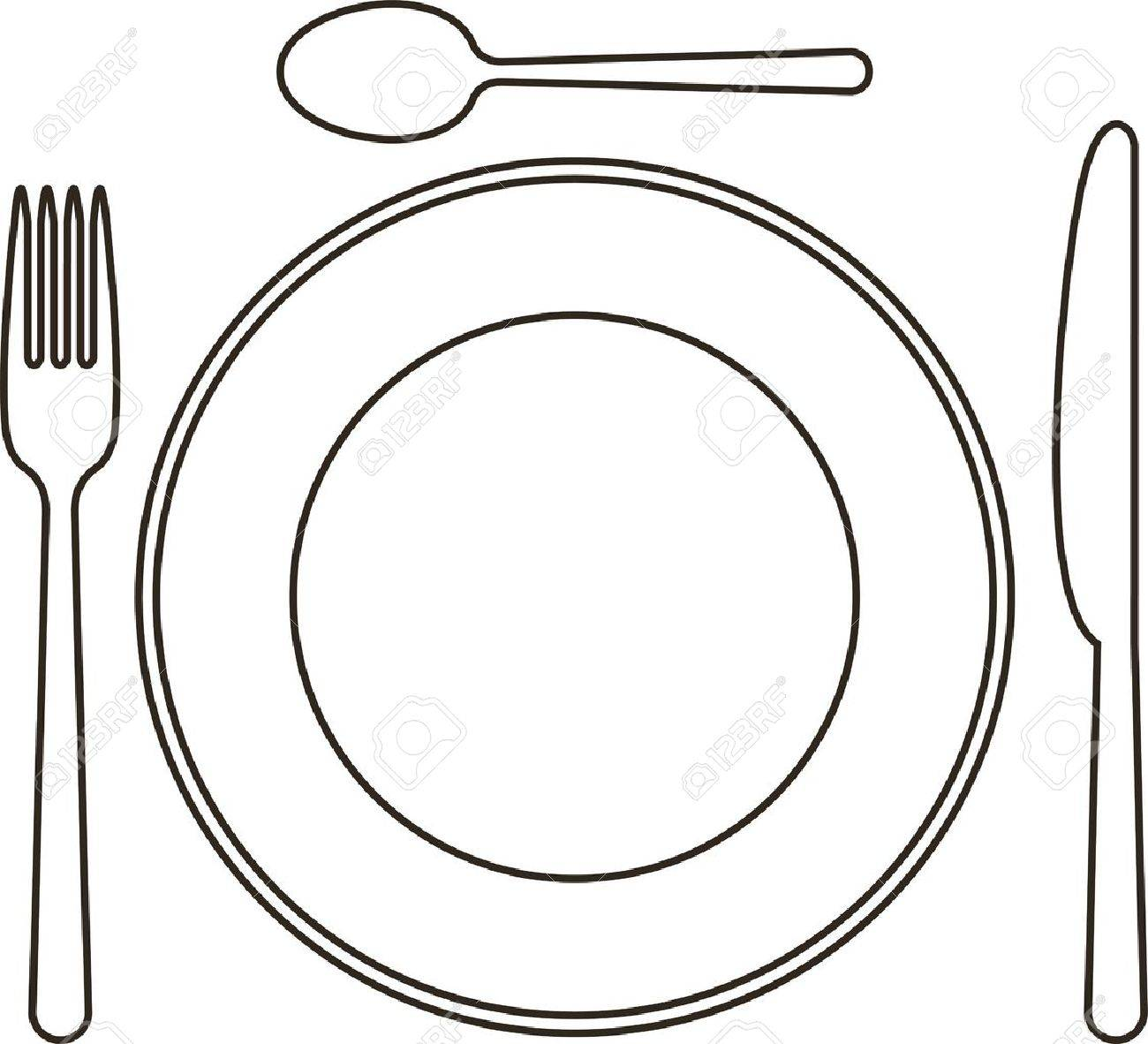 Place Setting With Plate, Knife, Spoon And Fork Royalty Free ...