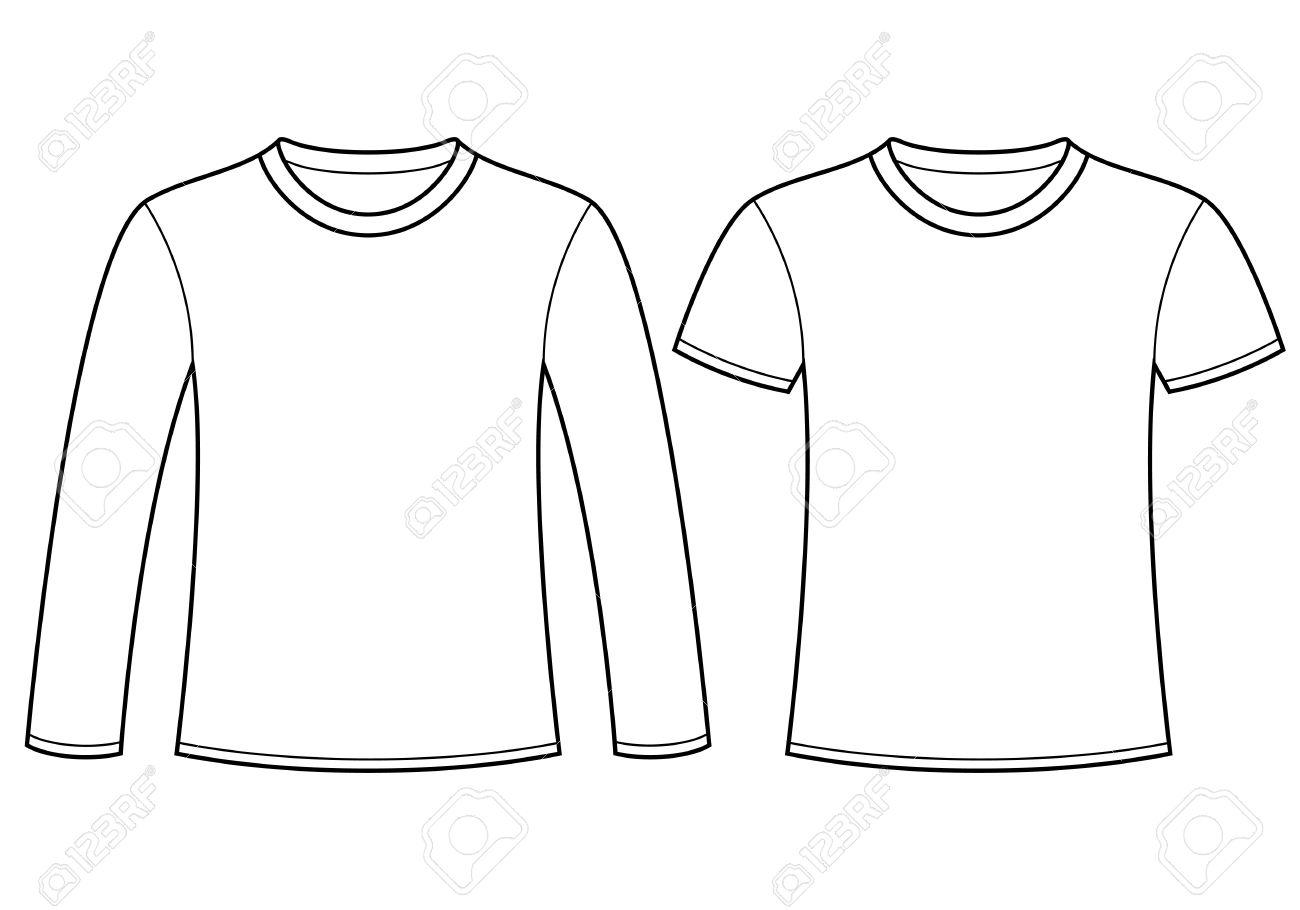 Design t shirt template free - Long Sleeved T Shirt And T Shirt Template Stock Vector 15124622
