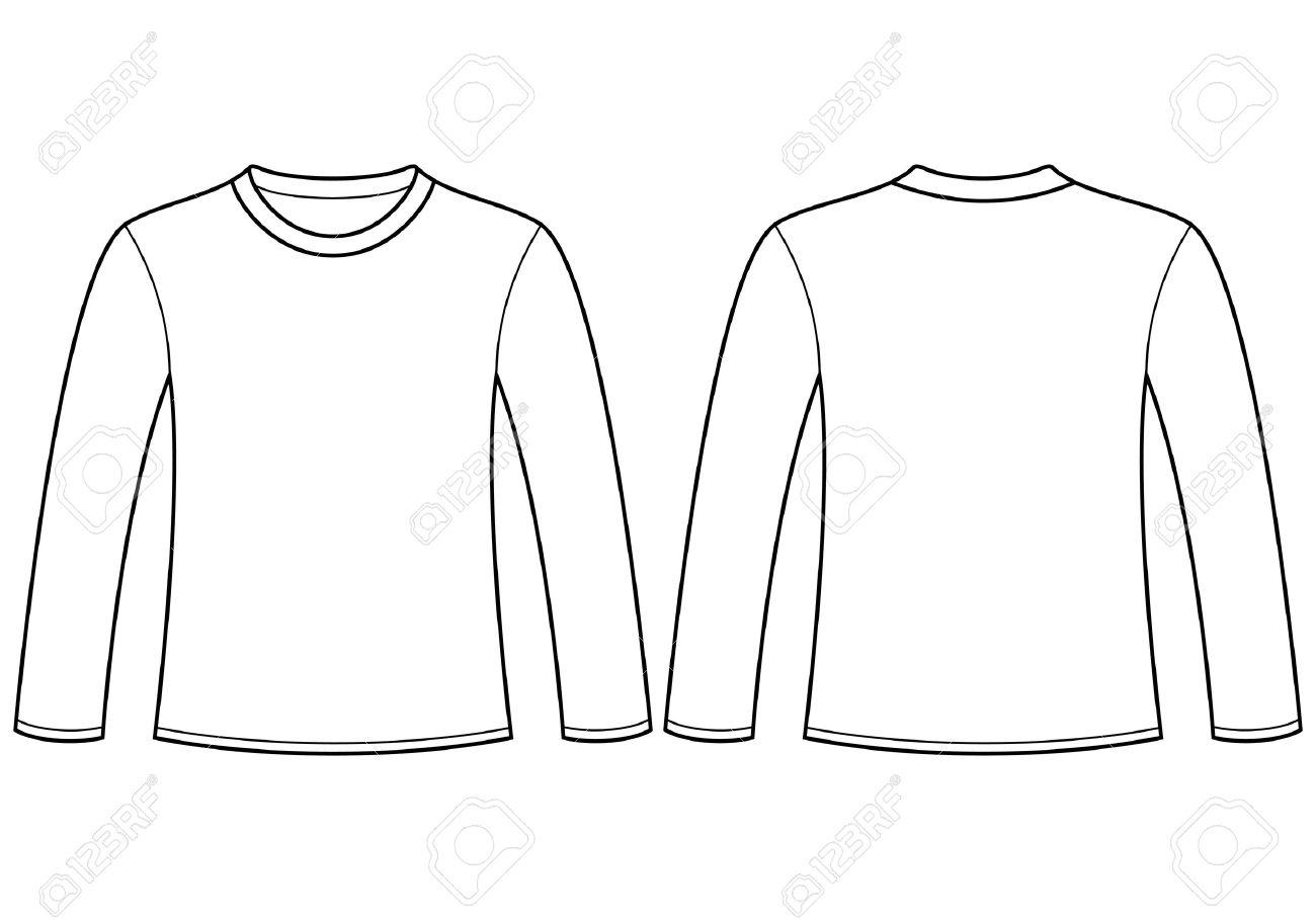 Long Sleeve Shirt Vector Template Long-sleeved T-shirt Template