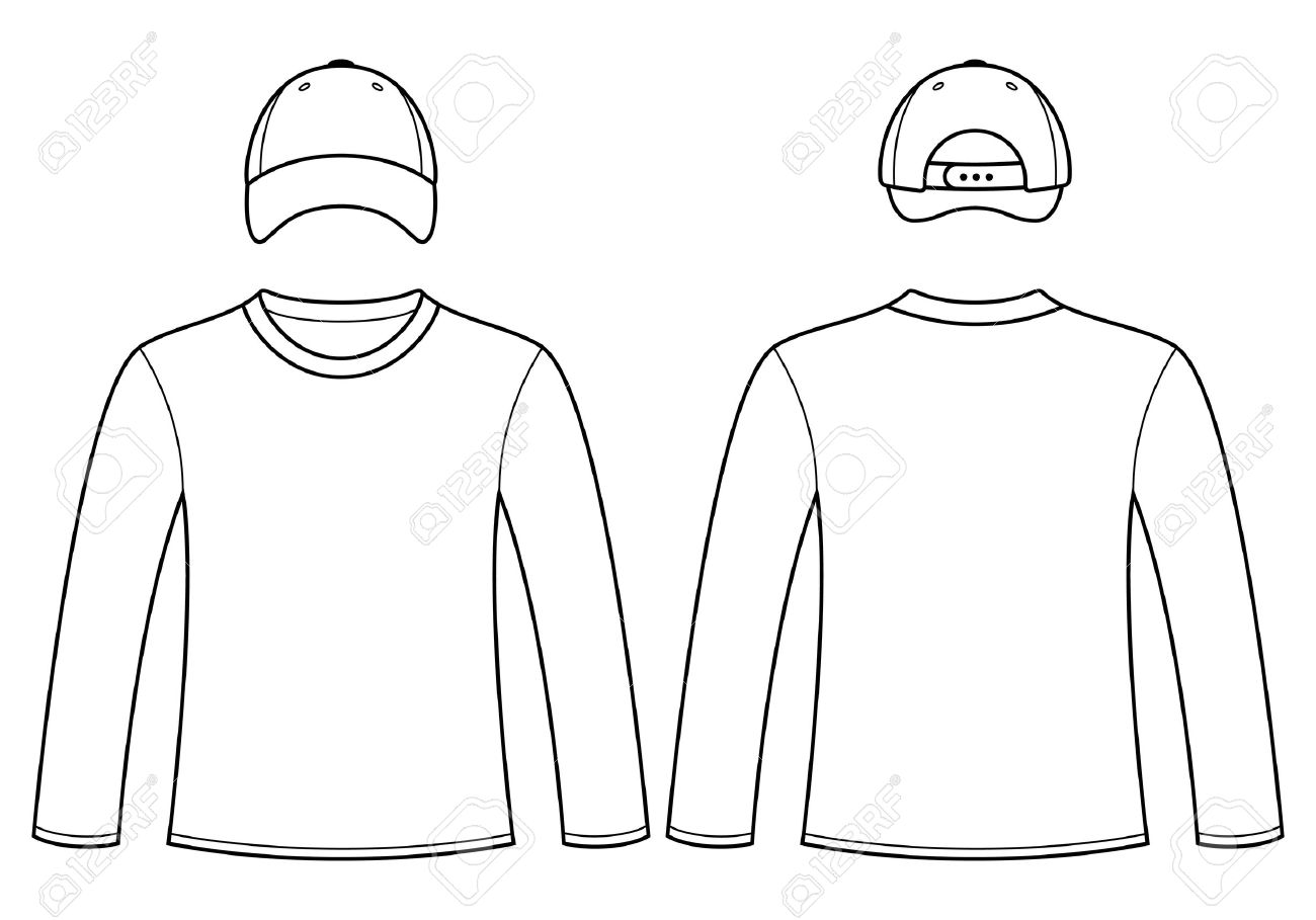Long-sleeved T-shirt And Cap Template Royalty Free Cliparts, Vectors ...