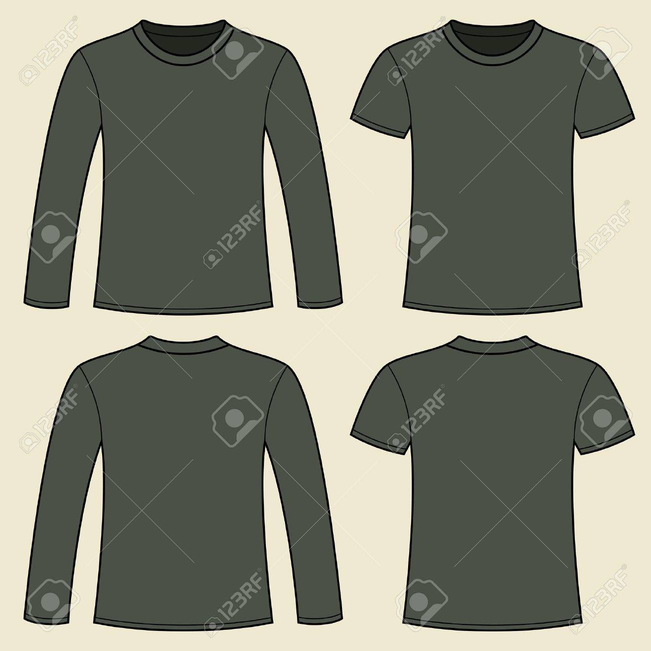 Long-sleeved T-shirt and T-shirt template Stock Vector - 15449400