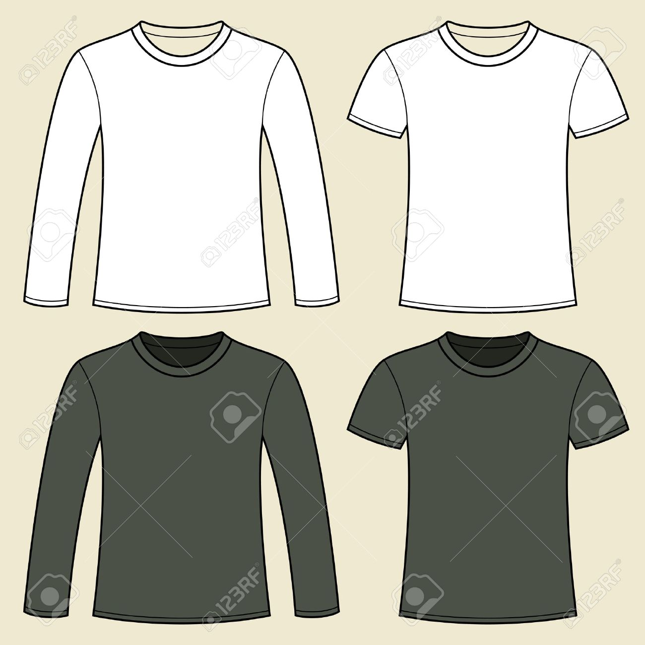 Long-sleeved T-shirt and T-shirt template Stock Vector - 15449401