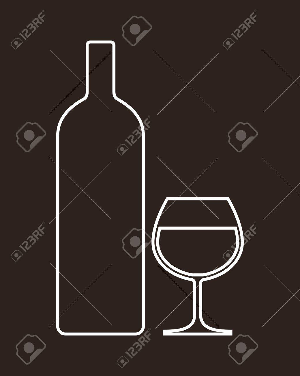 Bottle and glass of alcohol Stock Vector - 18853531