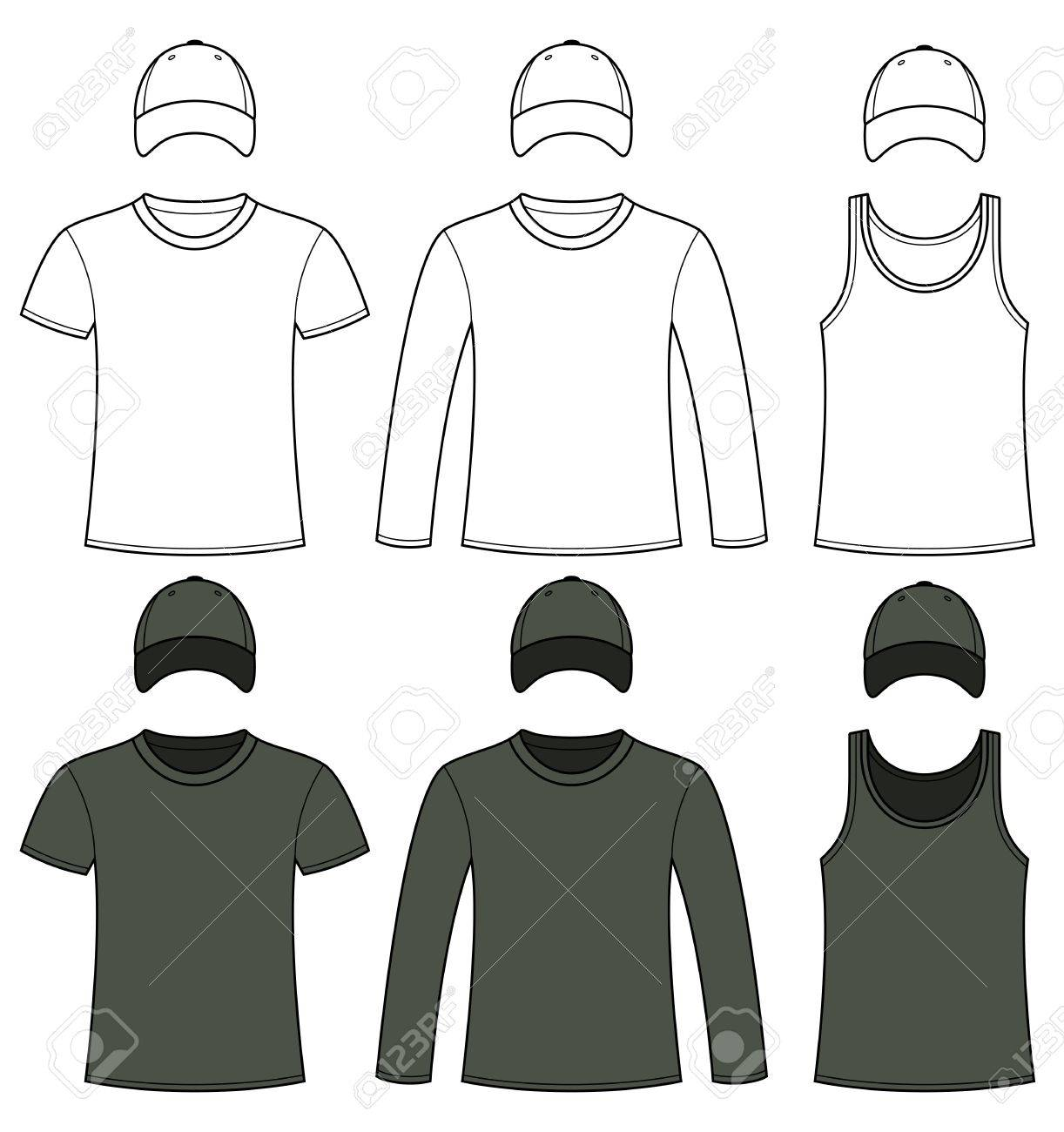 Singlet, T-shirt, Long-sleeved T-shirt And Cap Template In Black ...