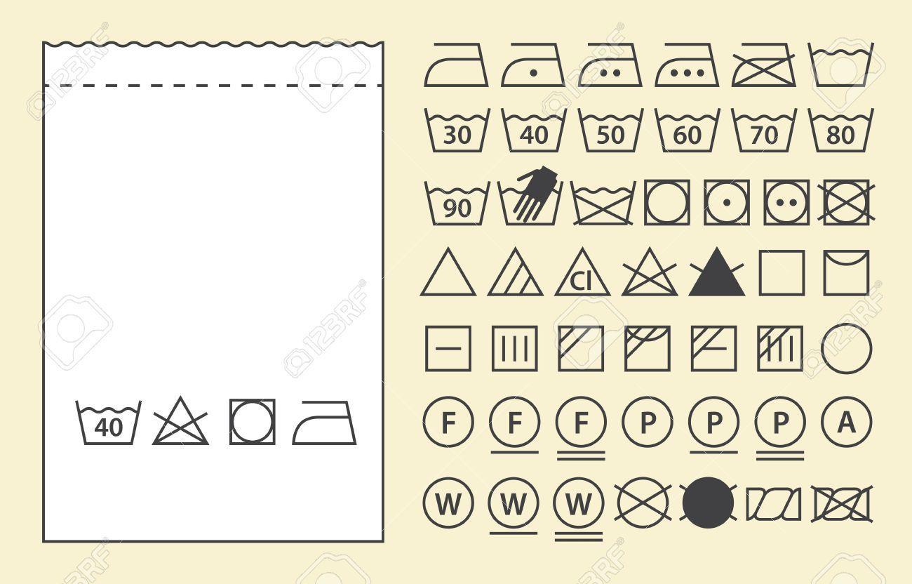 Plantilla De Etiquetas Textiles Y Los Símbolos De Lavado (iconos De ...