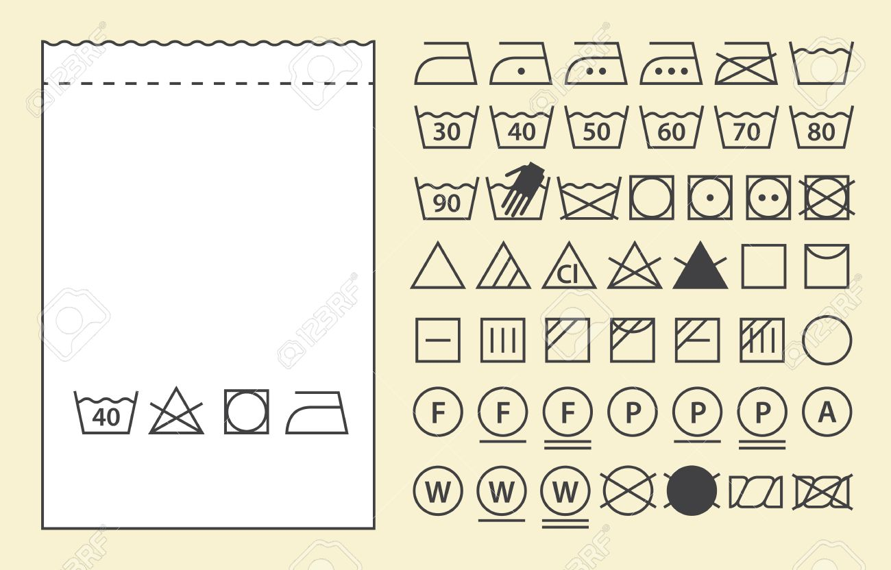 textile label template and washing symbols laundry icons royalty