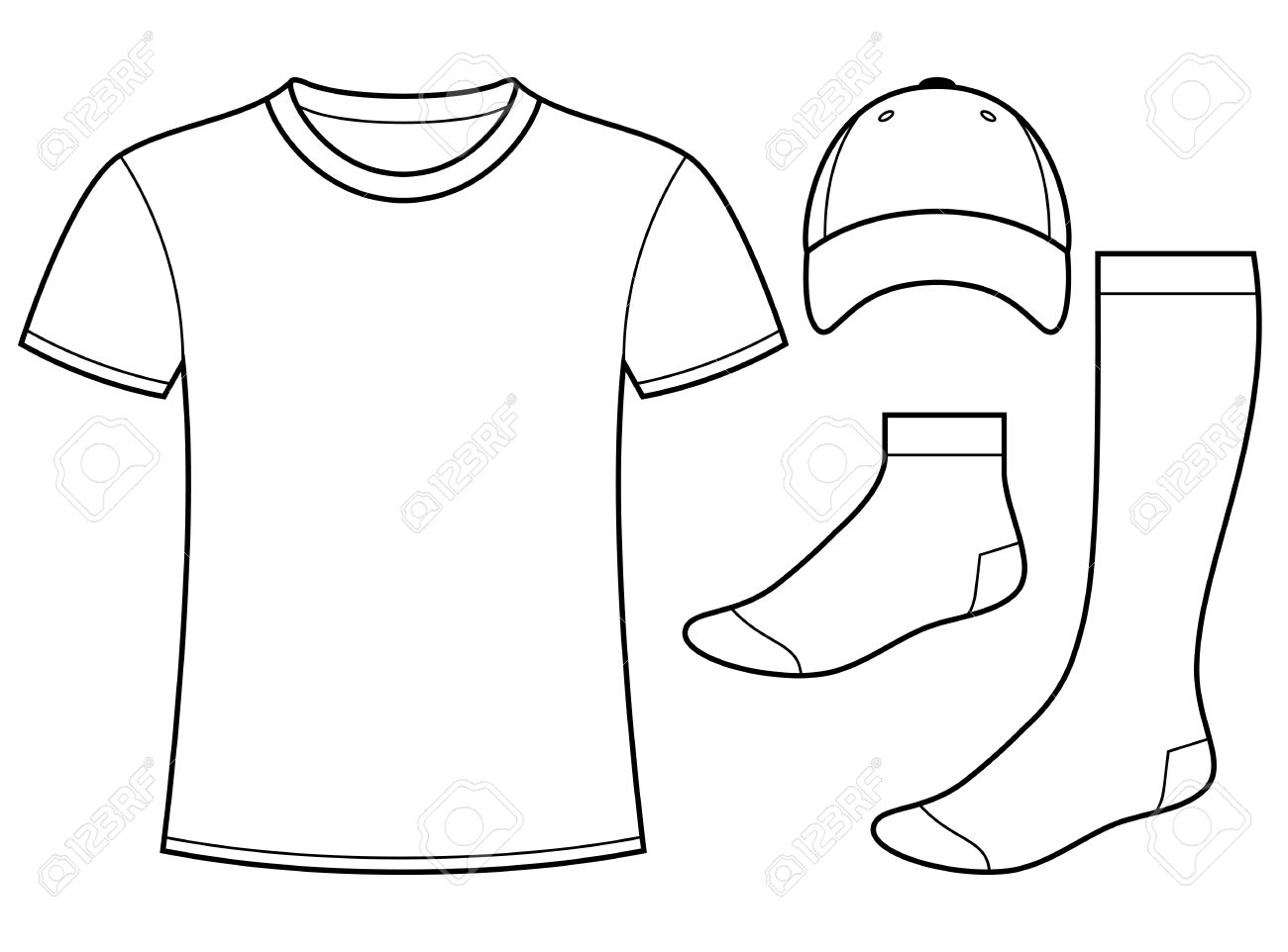 t shirt cap and socks template royalty free cliparts vectors and