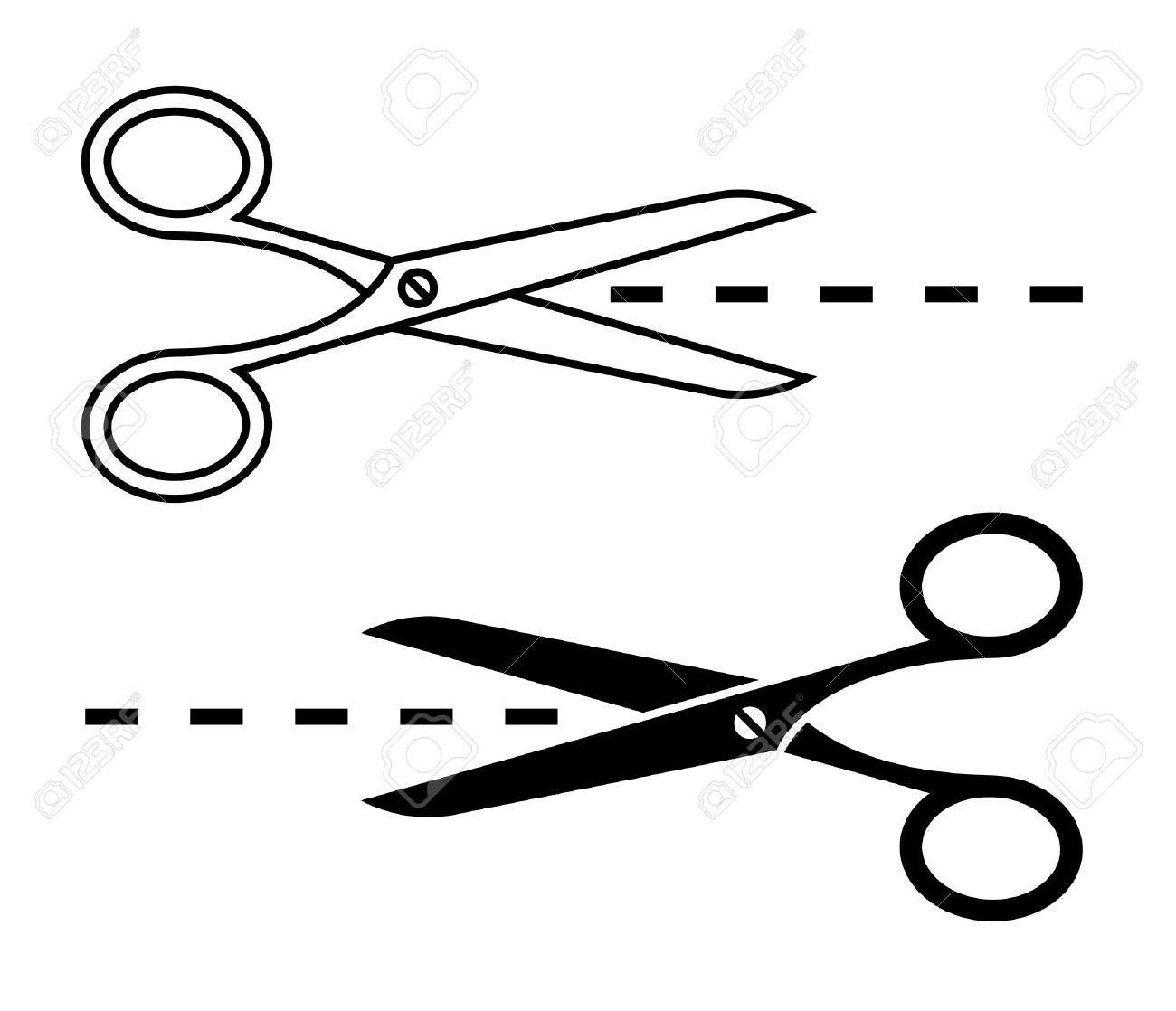 vector scissors with cut lines set of cutting scissors royalty free
