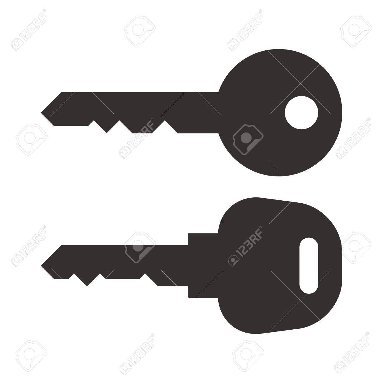 Key And Car Key Symbols Isolated On White Background Royalty Free