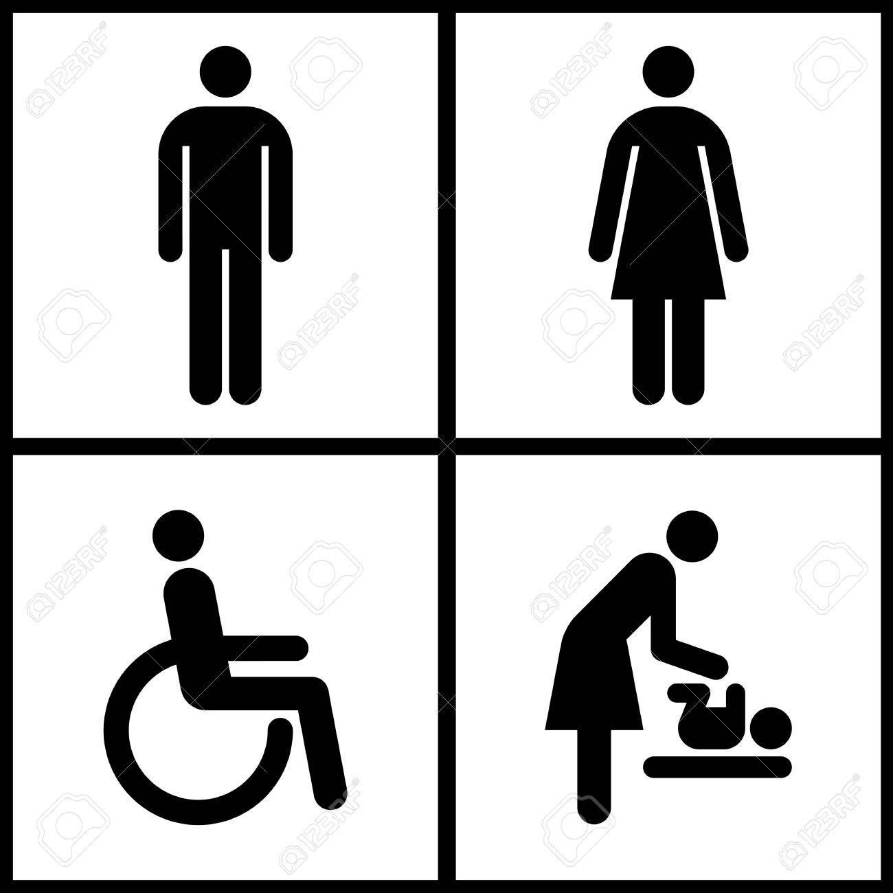 Toilet Sign   Restroom  Mother room and Disabled sign Stock Vector    25332050. Toilet Sign   Restroom  Mother Room And Disabled Sign Royalty Free