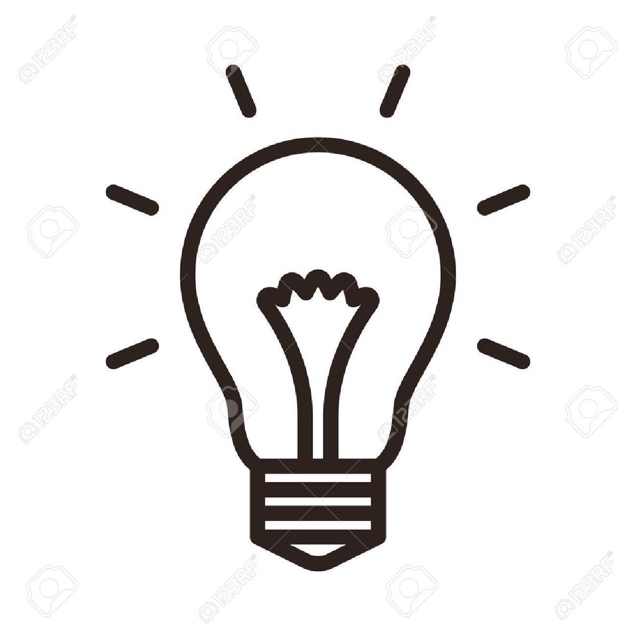 Ampoule Dessin icône d'ampoule isolé sur fond blanc clip art libres de droits