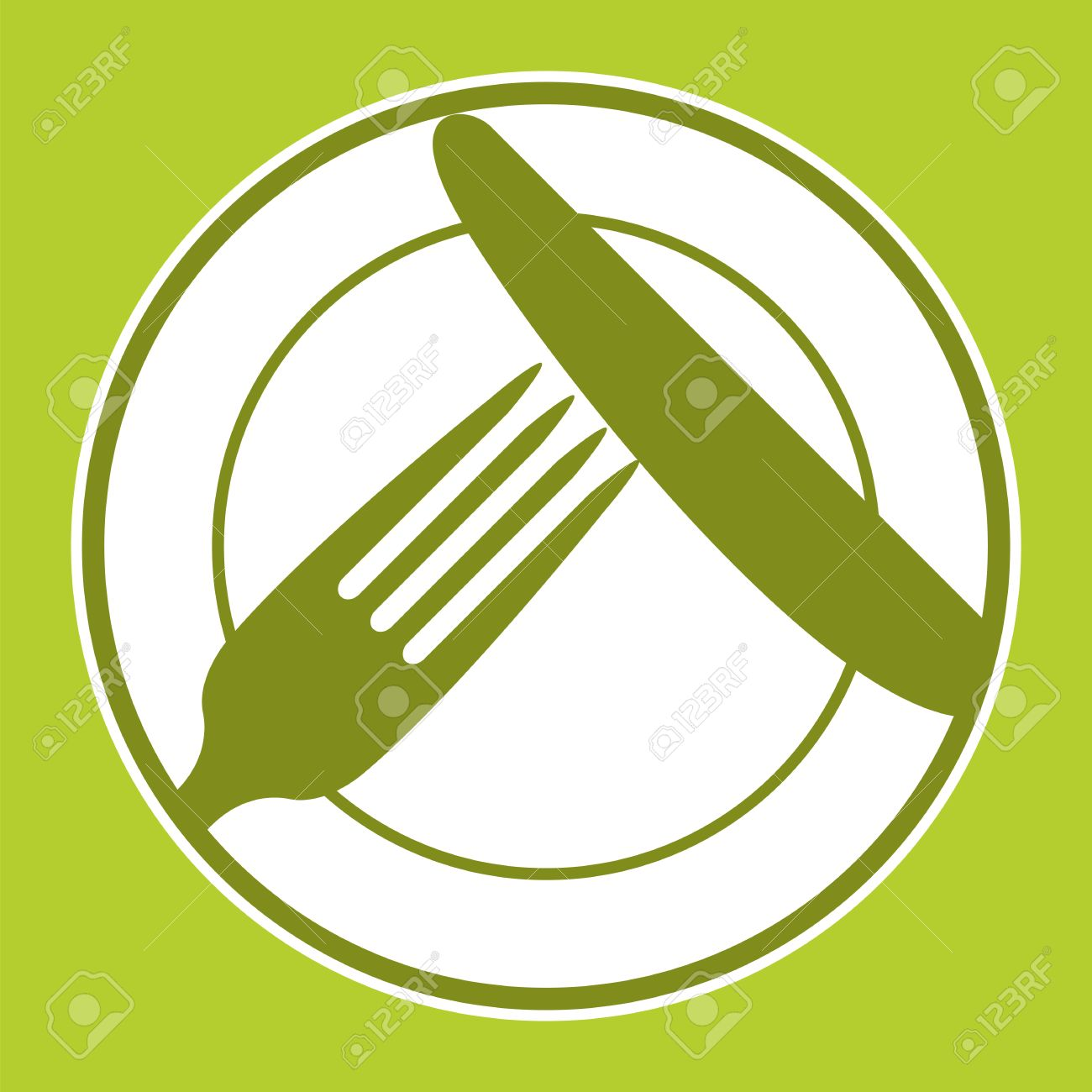 Plate, knife and fork. Restaurant menu design with cutlery symbols - 27902997