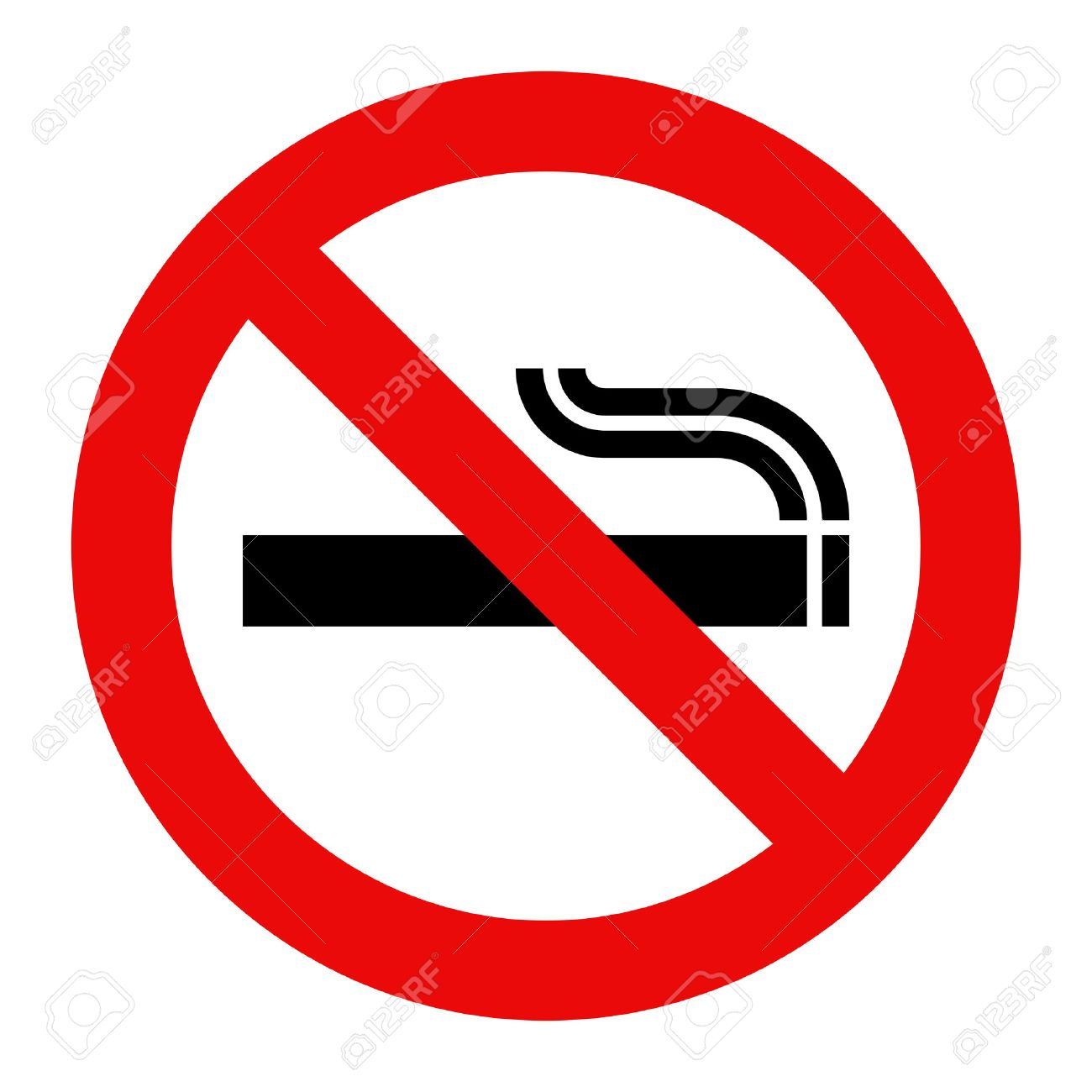 Aucun Signe De Fumer. Symbole Interdite Isolé Sur Fond Blanc Clip ...