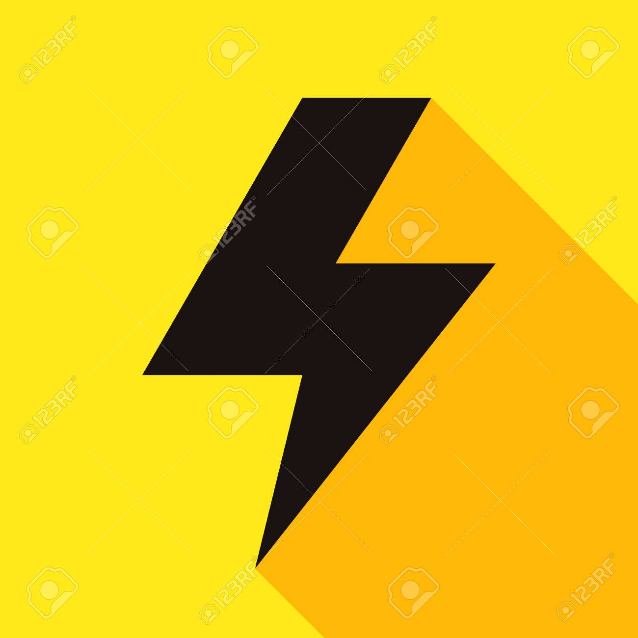 Lightning Bolt Icon On Yellow Background Royalty Free Cliparts Vectors And Stock Illustration Image 32748444
