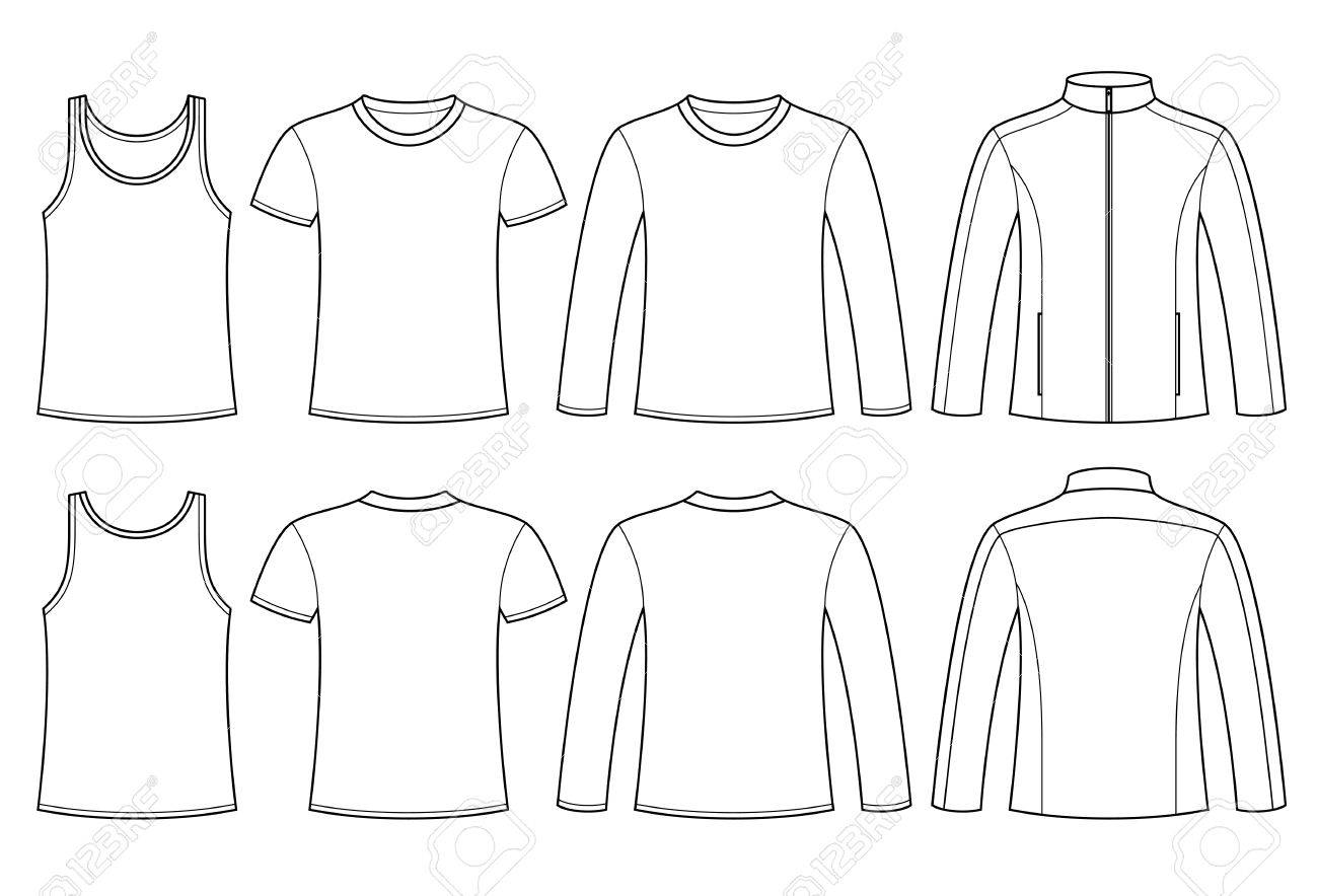 Singlet, T-shirt, Long-sleeved T-shirt and Jacket template - front and back isolated on white background - 35956095