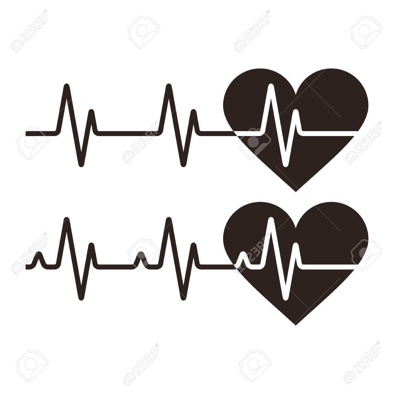 Heartbeat icons. Electrocardiogram, ecg or ekg isolated on white background - 40041184