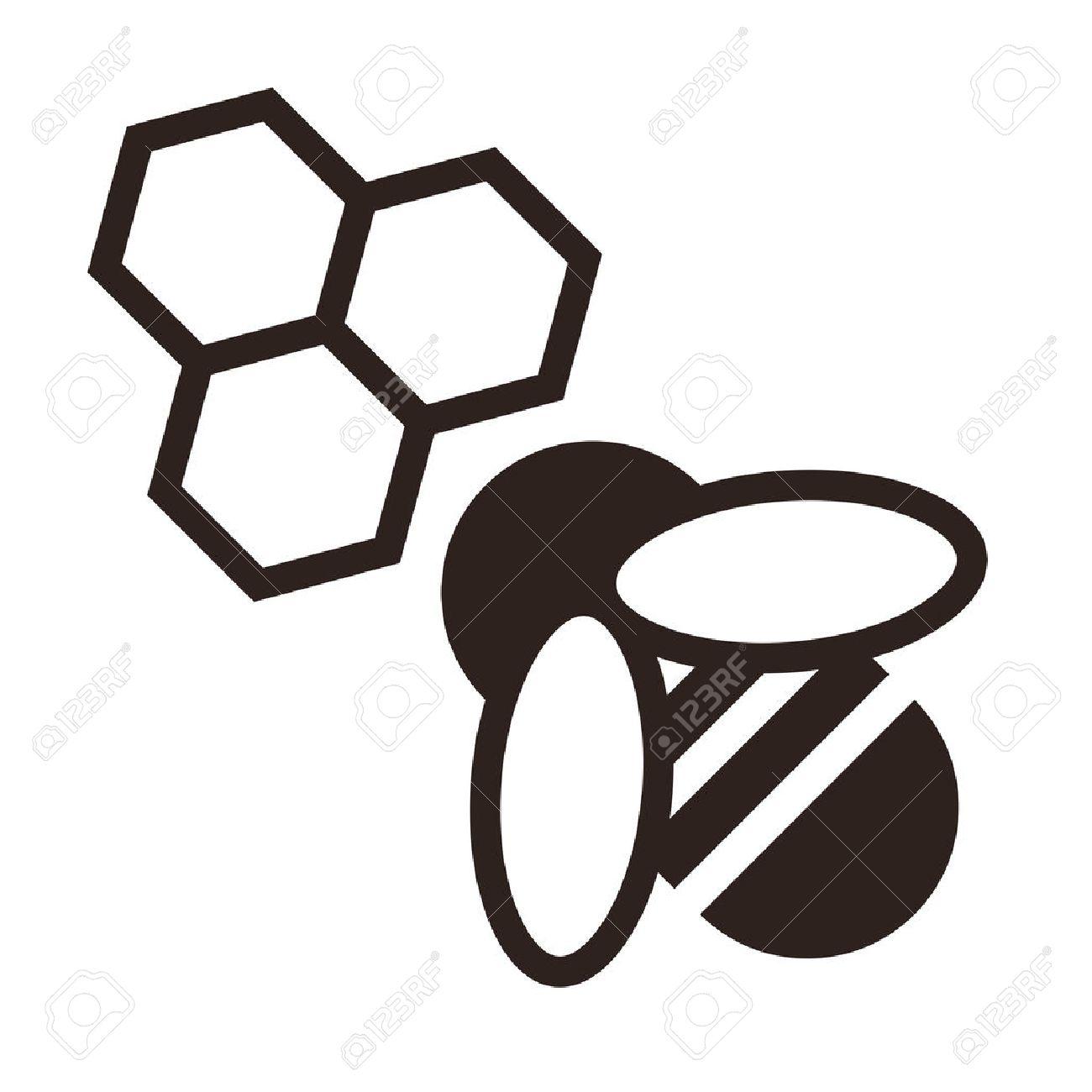 Bee Et De Nids D'abeilles Icône Isolé Sur Fond Blanc Clip Art ...
