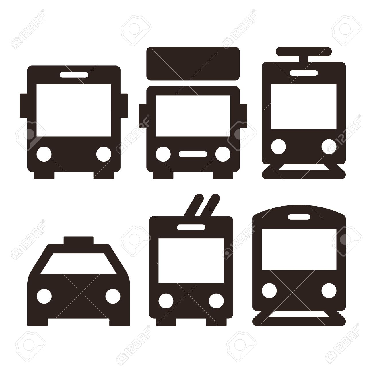 Public transport icons - bus, truck, streetcar, taxi, trolley bus and train Stock Vector - 47966945