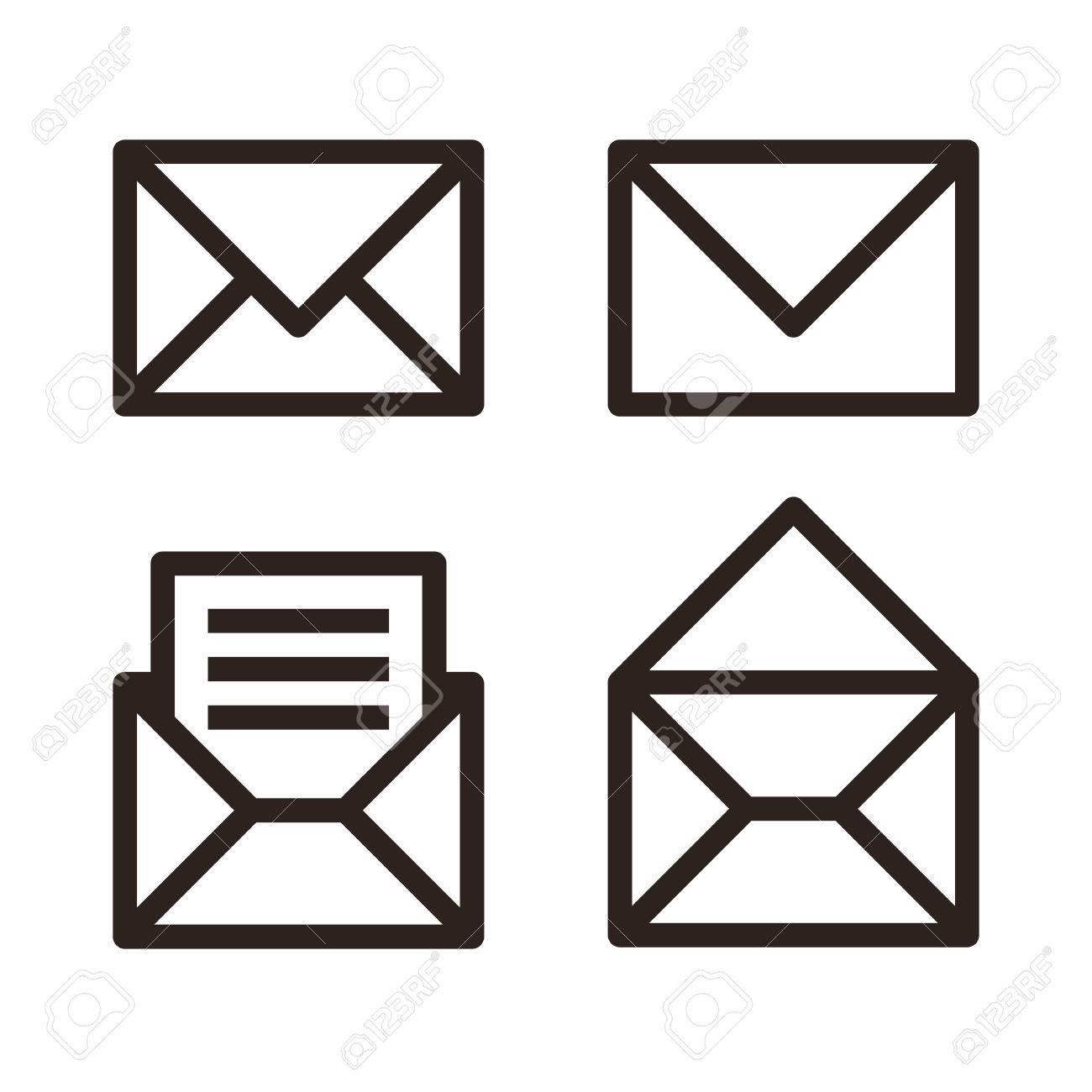 Mail icon set. Envelope sign isolated on white background - 51036576