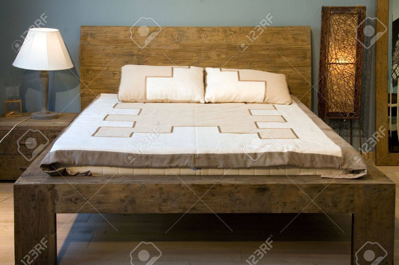 Bedroom With Old Style Wooden Bed Stock Photo Picture And Royalty Free Image Image 1029540