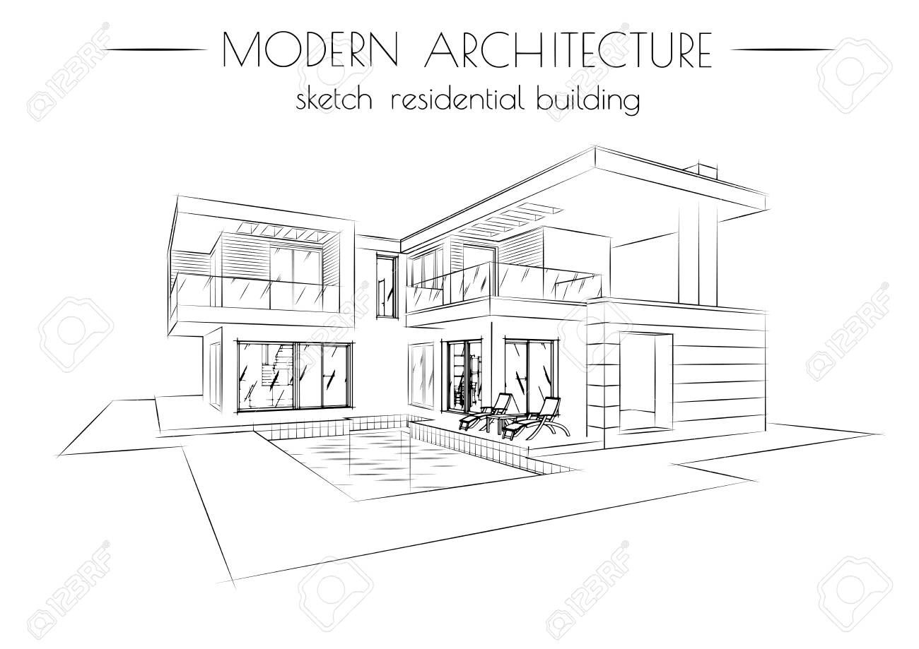 modern architecture sketch. Exellent Sketch The Modern Architecture Sketch Of Houses On A White Background Stock  Vector  93626458 Intended Modern Architecture Sketch N