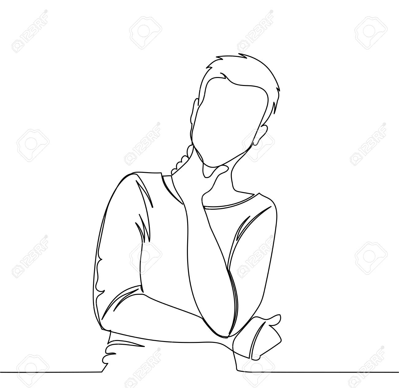 Man is thinking. Vector illustration thinking man - continuous line drawing - 109363904