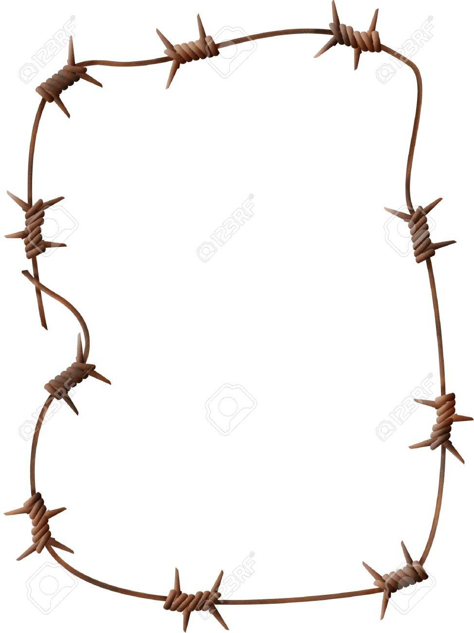 Frame - a rusty barbed wire on a white background Stock Photo - 907603