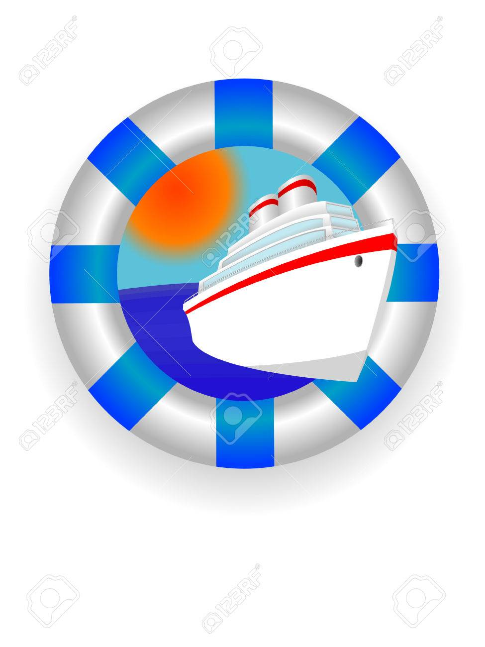 Emblem - a sea lifebuoy ring with the ocean liner in a vector Stock Vector - 3205885